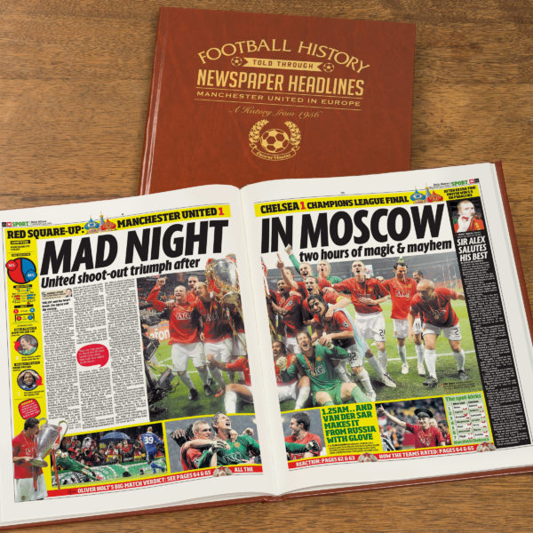 manchester united in europe leather football book