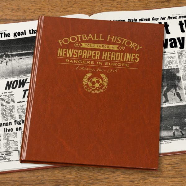 rangers in europe leather football book