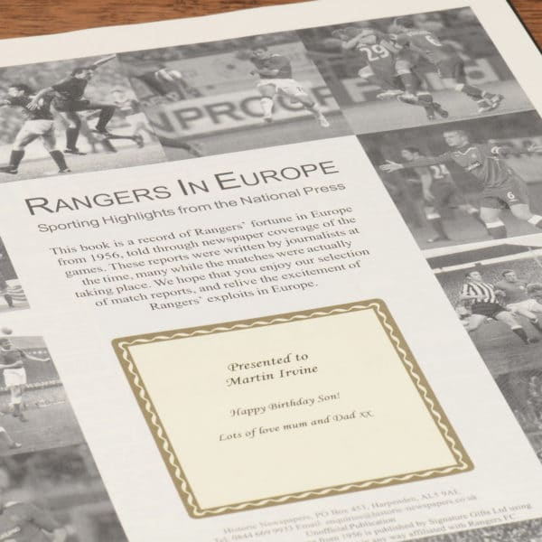 rangers in europe football book