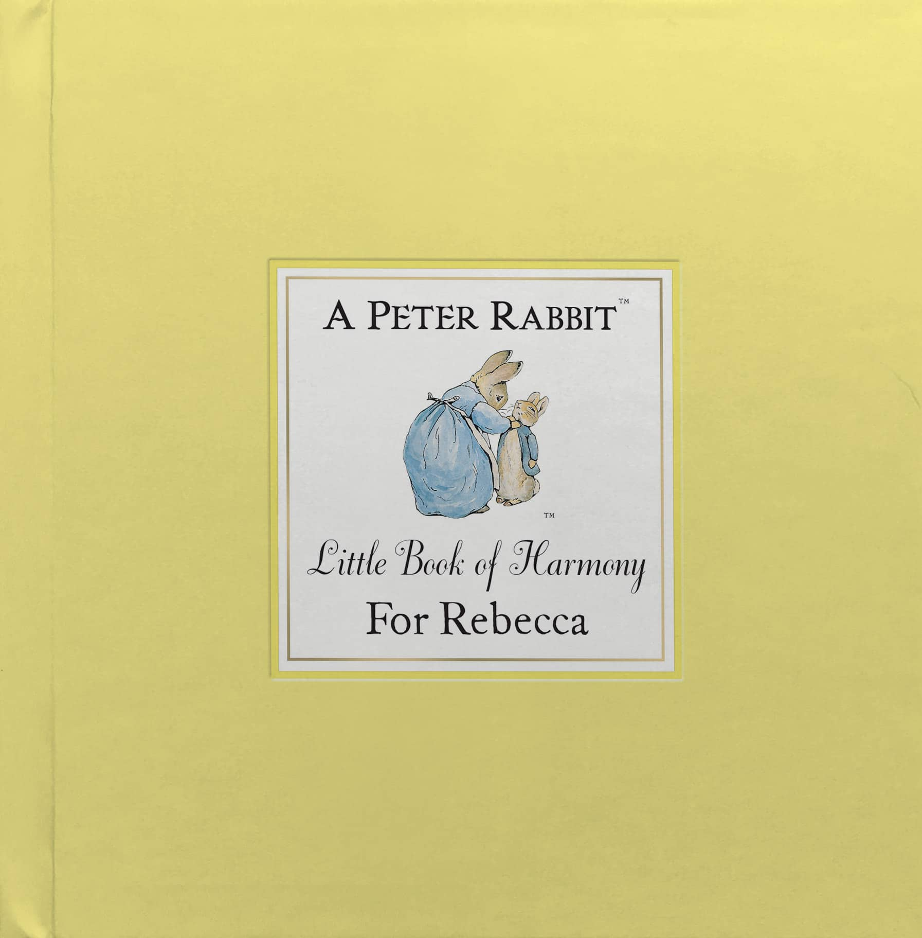 personalised peter rabbit book of harmony