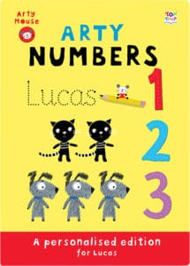 personalised arty numbers book