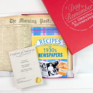 30s Recipe book and Newspaper gift set