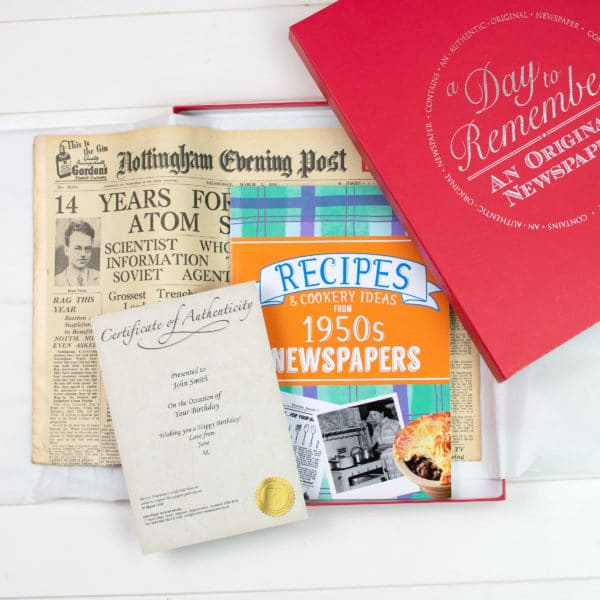 50s Recipe book and Newspaper gift set