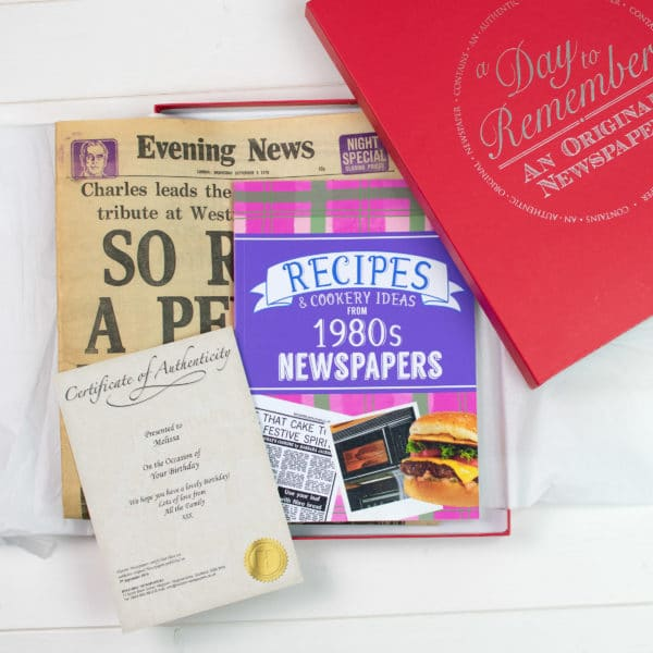 80s Recipe book and Newspaper gift set